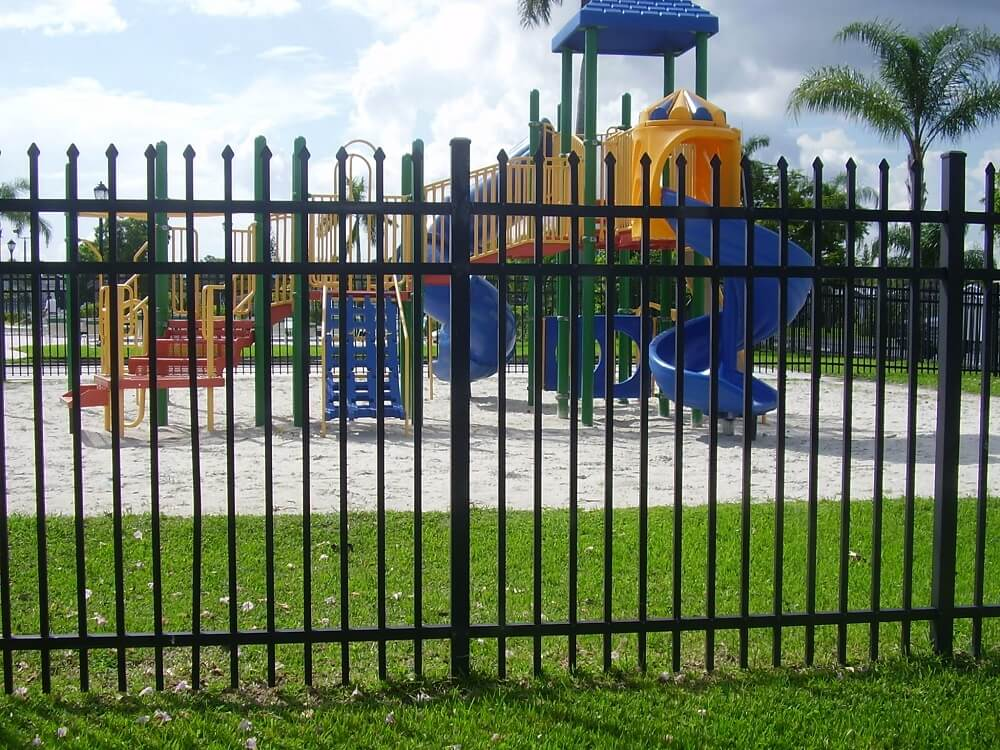 An image of a custom aluminum fence we installed in a school in Broward County